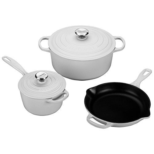 Le Creuset of America 5 Piece Signature Enameled Cast Iron Cookware Set, White (Le Creuset Set Of Cookware compare prices)