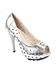 BELSON Silver High Quality Comfort Party Wear Faux Leather High Heel Pumps