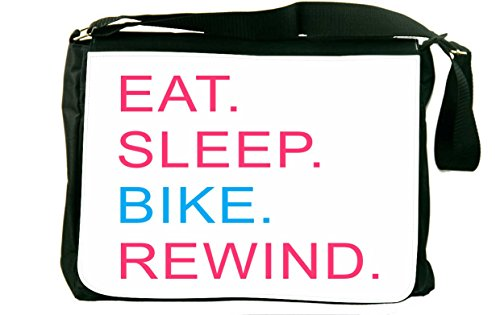 Rikki Knighttm Eat Sleep Bike Rewind Pink & Blue Messenger Bag - - Shoulder Bag - School Bag For School Or Work - With Matching Coin Purse front-630124