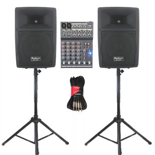 "Podium Pro Audio Pp807A Bluetooth 8"" Active Speaker Pair Mixer Stands And Cables Usb Sd Mp3 800W Pp807Aset4"
