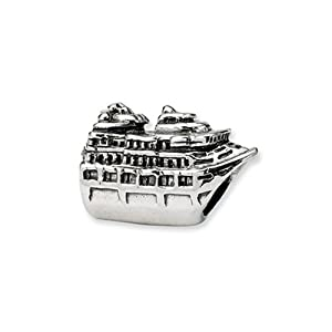 Cruise Ship Charm in Sterling Silver for Pandora, Kera and other 3mm Bracelets
