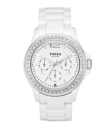 Fossil Women's CE1010 White Ceramic Bracelet White Glitz Analog Dial Multifunction Watch