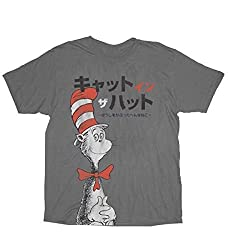 Dr. Seuss The Cat in the Hat Japanese Charcoal Adult T-shirt Tee Large