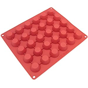Freshware CB-101RD 30-Cavity Silicone Peanut Butter Cup, Chocolate, Candy and Gummy Mold