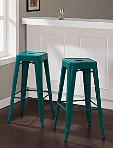 set of 2 turquoise tolix style metal bar stools in glossy powder coated finish. Black Bedroom Furniture Sets. Home Design Ideas