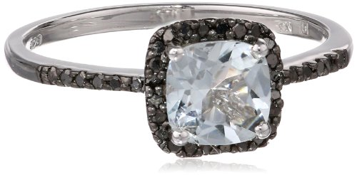Sterling Silver Aquamarine and Black Diamond Ring (0.14 cttw), Size 7