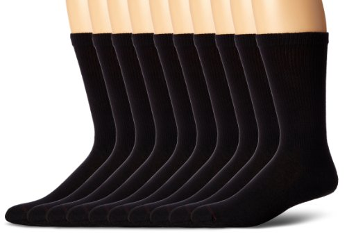 Hanes Men's 10 Pack Ultimate Cushion Crew Socks ,Black,Shoe Size 6-12