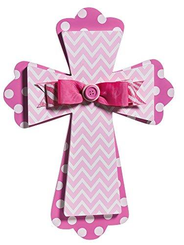 Pink Chevron Wood Wall Cross - 1