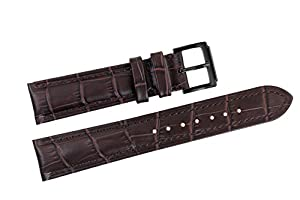 19mm Dark Brown Italian Leather Replacement Watch Straps/Bands Grosgrain Padded with Black Pin Buckle for Luxury Watches
