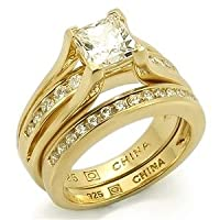 CZ Wedding Rings - Sterling Silver Gold Plated Princess Cut One Carat Engagement and Wedding Ring Set