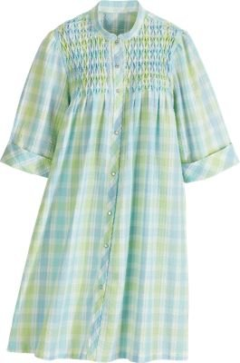 Amazon.com - Green Women's Seersucker Smocked Snap-Front