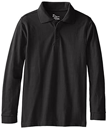 CLASSROOM Big Boys' Youth Unisex Long Sleeve Pique Polo, Black, Medium