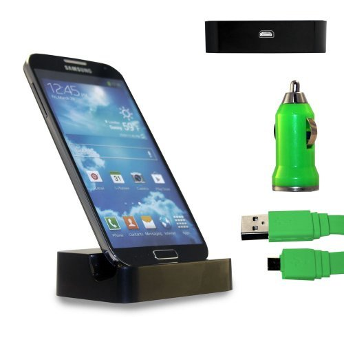 Shelfone 3 In 1 Bundle Premium High Quality Black Charging Dock Desktop Stand Docking Station Includes Coloured Includes Flat Micro Usb Data Cable & Universal Bullet Car Charger For Various Samsung Mobile Series Samsung Galaxy S4 I9500 I9505 Green