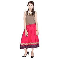 Prateek Retail Rajasthani Pink Cotton Skirt