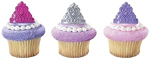 PRINCESS Tiara CROWNS Pink Purple Silver 12 Cupcake Cake Pop PARTY Favor RINGS