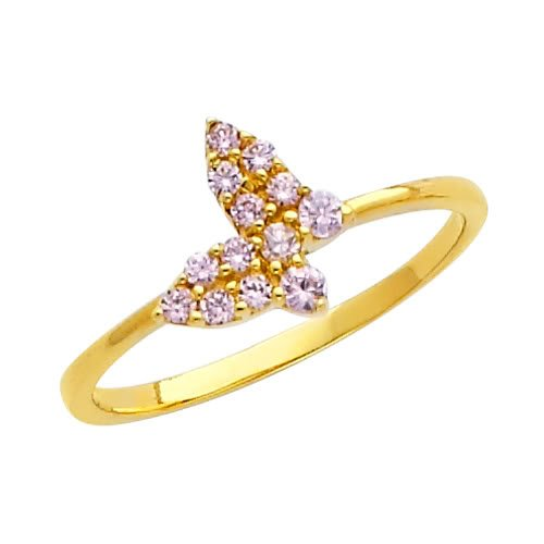 14K Yellow Gold Pink Butterfly CZ Cubic Zirconia Promise Ring Band - Size 4.5
