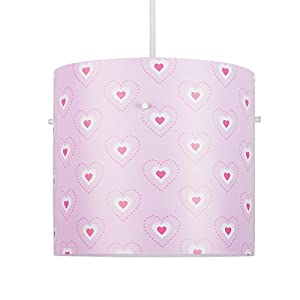 Beautiful Pink, White And Red Hearts Girl's Cylinder Ceiling Pendant Light Shade