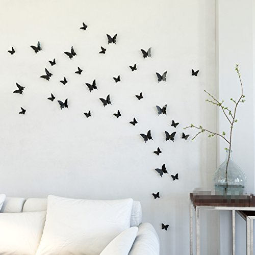 Mariposa Appear in Gossip Girl 12pcs/pack 3D Decorative Butterflies Removable Wall Art Stickers Wedding Decor - by Gefii (! ! Black) - 1