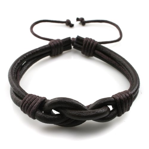 Handmade Countryside Style Genuine Real Leather Braid Infinity Lock Bracelet, Young and Cool, Adjustable Size, Gift for Him for Her, Unisex (Brown Leather - Brown Wax Rope)