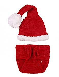Bei wang Cute Christmas Style Baby Infant Newborn Handmade Crochet Beanie Hat Clothes Baby