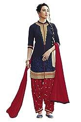 Naaidaakho Navy Blue And Red Patiyala Dress Material