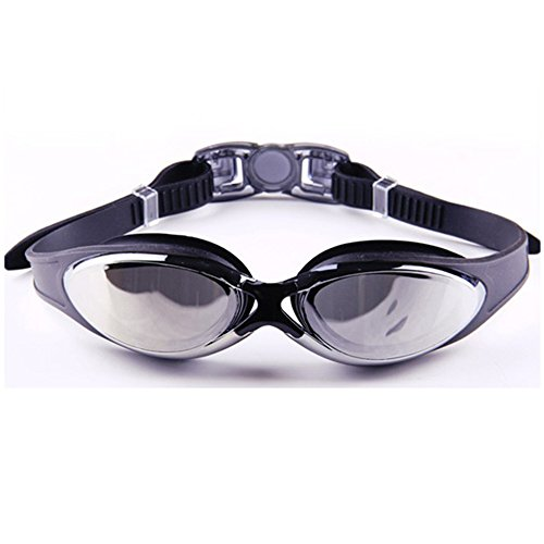 Fit Active Sports - Anti Fog Swim Goggles with FREE Protective Case - Anti Glare, Anti Shatter, Mirror Coated Lenses. Eco Friendly Material, Durable Nose Piece, Adjustable Strap with Plastic Buckle for Easy Removal. Super Clear Underwater Indoors and Outdoors