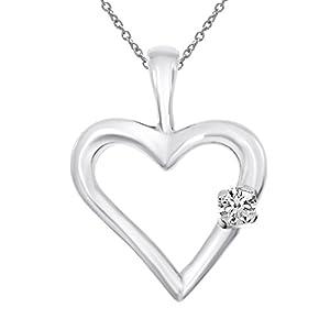 14K White Gold Diamond Heart Pendant with 18