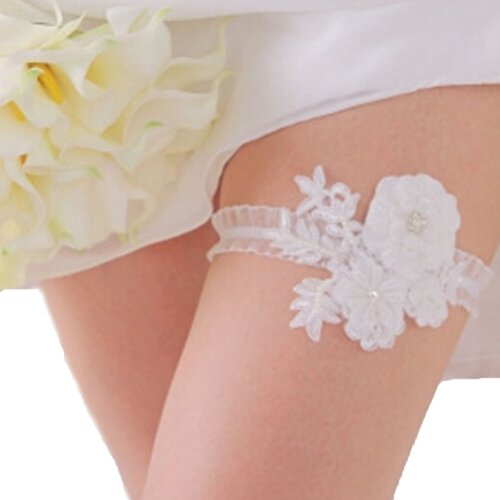 Vivivalue Noble Wedding Bridal Pearl Rhinestone Flower Garter White 1 PCS