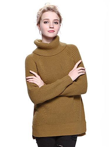 Clothink Women Camel Roll Neck Split Side Rib Knitted Pullover Jumper Sweater Tops XL