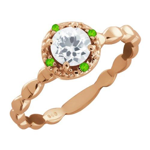 63 Ct Round White Topaz and Green Peridot 14k Rose Gold Ring Jewelry