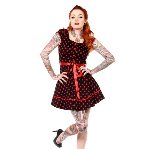 Banned Dress CUTE DOTTED DRESS black-red L