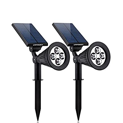 URPOWER® In-ground Lights,180°angle Adjustable and Waterproof 4 LED Solar Powered Outdoor LED Spotlight,Security Lighting, Auto-on at Night and Auto-off by Day for Path Lights for Patio, Deck, Yard, Garden, Driveway, Stairs, Pool Area, Etc.