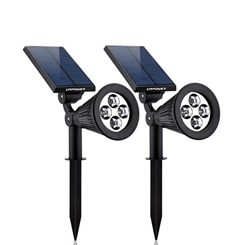 Solar Lights,URPOWER 2-in-1 Waterproof 4 LED Solar Spotlight Adjustable Wall Light Landscape Light Security Lighting Dark Sensing Auto On/Off for Patio Deck Yard Garden Driveway Pool Area(2 Pack) (Commercial Solar Lights compare prices)