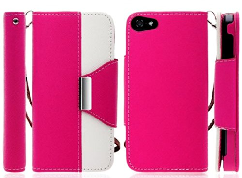 Mylife Bright Pink And White Classy Design - Textured Koskin Faux Leather (Card And Id Holder + Magnetic Detachable Closing) Slim Wallet For Iphone 5/5S (5G) 5Th Generation Smartphone By Apple (External Rugged Synthetic Leather With Magnetic Clip + Intern