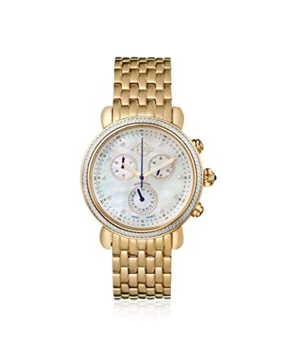 GV2 by Gevril Women's 9802 Marsala Diamond & Gold-Plated Stainless Steel Watch with One White Leather Strap