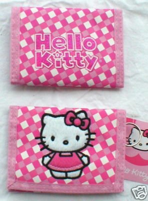 Cute Sanrio Hello Kitty Plaid Tri-fold Pock Wallet (Pink)