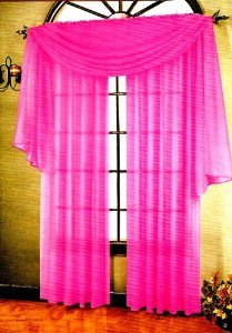 3 Piece Pink Sheer Voile Curtain Panel Set: 2 Pink Panels and 1 Scarf