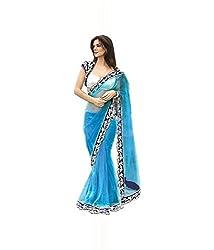 Om Shantam Sarees Women's Blue Net Saree With Blouse (Ombluenet_blue)