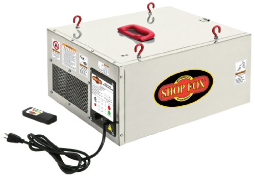 Shop Fox W1830 1/8 HP Single Phase 3-Speed 260/362/409 CFM Hanging Air Filter with Remote Control and Timer