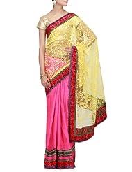 Kalki Fashions Women Pink Brasso & Jacquard Saree