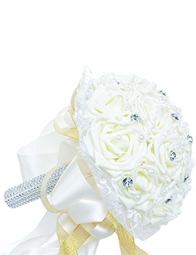 Favebridal Real Touch Flower Silk Rose Bridal Wedding Bouquet WF012CR