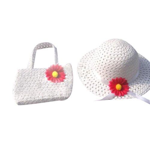 Fresh garden air princess flower straw hat+bag