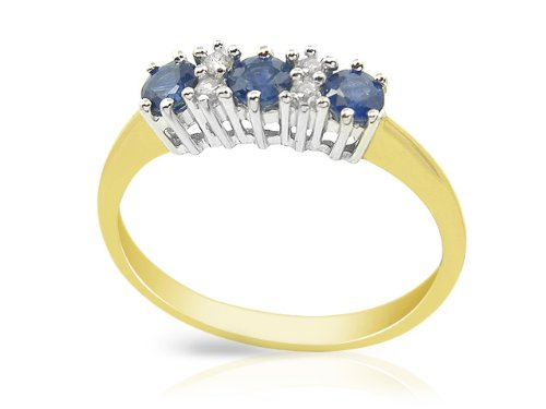 9ct Yellow Gold 0.54ct Sapphire & Diamond Three Stone Ring