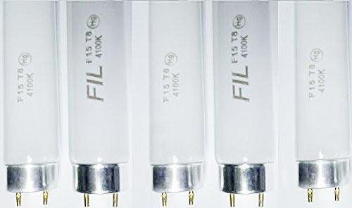 FIVE pack of 15-watt 18-inch T8 Fluorescent Tube