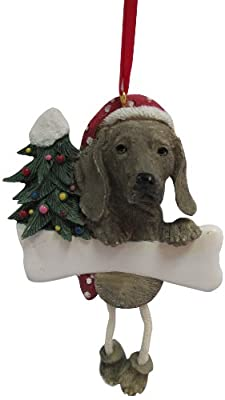 """Weimaraner Ornament with Unique """"Dangling Legs"""" Hand Painted and Easily Personalized Christmas Ornament"""