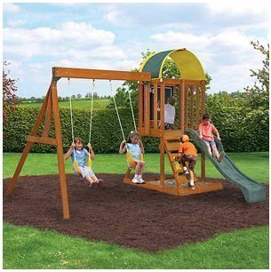 Best Price Ready to Assemble Wooden Swing Set. Cedar Wood Swingset, Climbing Wall and Sand Box. Wood...