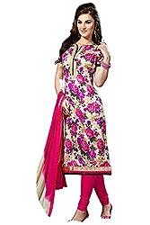 Craftliva Pink Printed Cotton Dress Material
