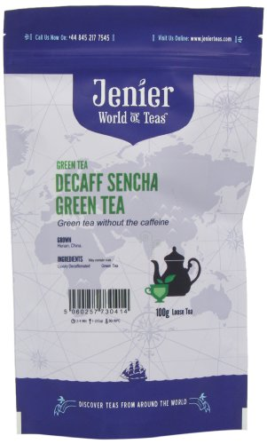Jenier Decaffeinated Sencha Green Loose Tea 100 g (Pack of 2)