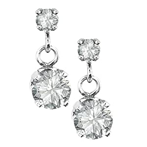 Click to buy 14K White Gold 2-Stone ½ Carat Diamond Drop Earrings from Amazon!