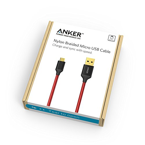 Anker 10ft / 3m Nylon Braided Tangle-Free Micro USB Cable with Gold-Plated Connectors for Android, Samsung, LG, HTC, Nexus, Sony and More (Red)